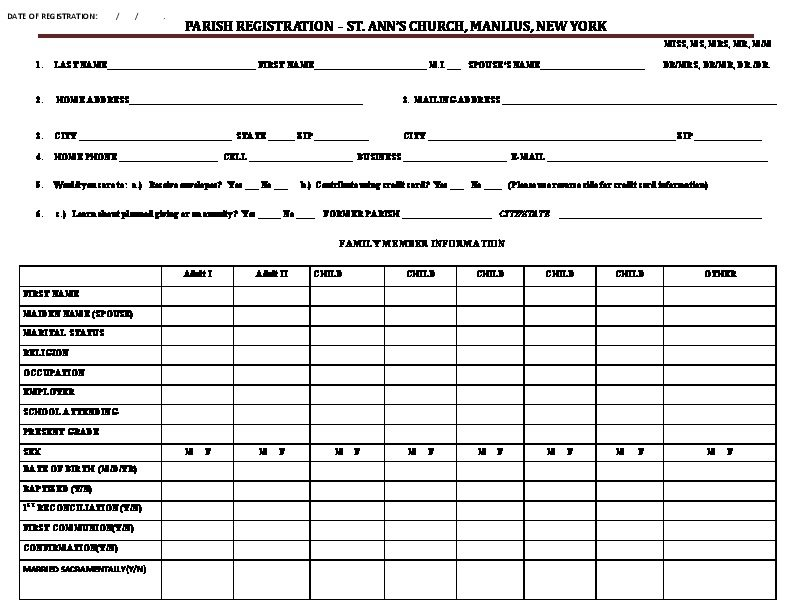 Parish Registration Form PDF